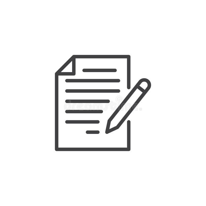 Redigera dokumentöversiktssymbolen royaltyfri illustrationer