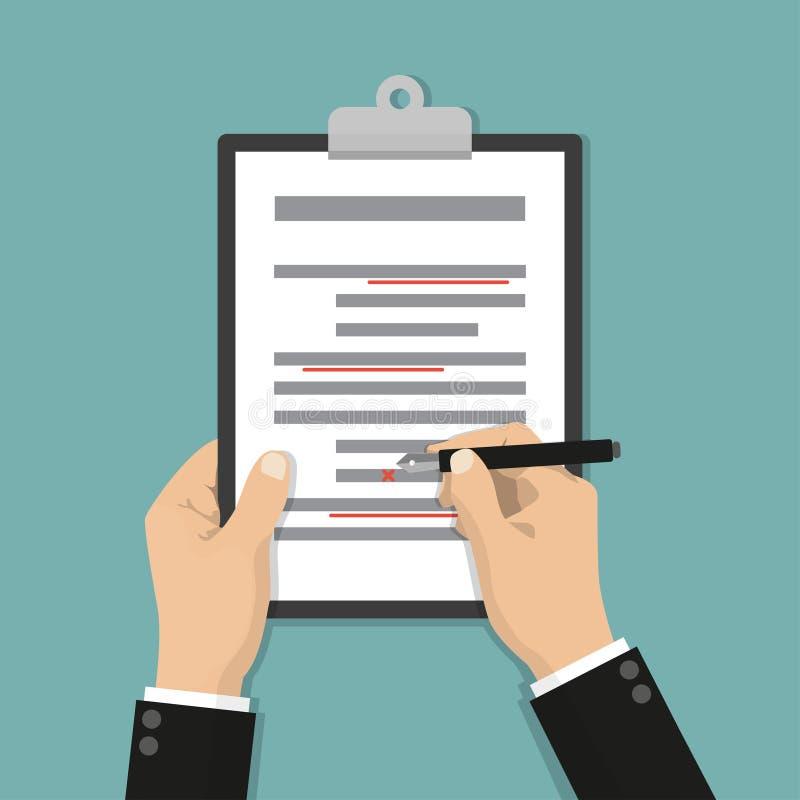 Redigera dokument för att korrigera fel Proofreaderen kontrollerar skriftlig text för transkription royaltyfri illustrationer