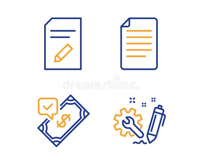 Redigera dokumentet, accepterad betalning och mappsymbolsupps?ttningen Tekniktecken vektor stock illustrationer