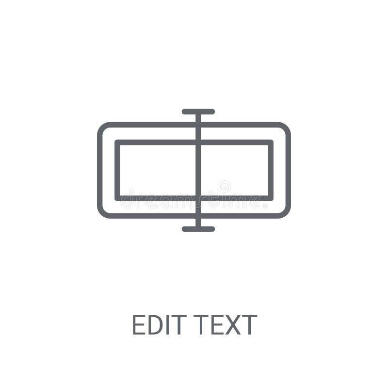 Redigera textsymbolen Moderiktigt redigera textlogobegreppet på vit backgroun stock illustrationer