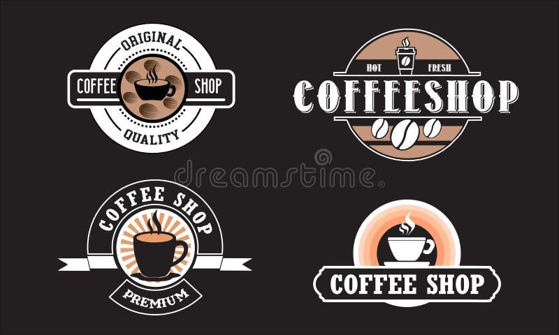 Redigerbar coffee shoplogo f?r aff?r royaltyfri illustrationer