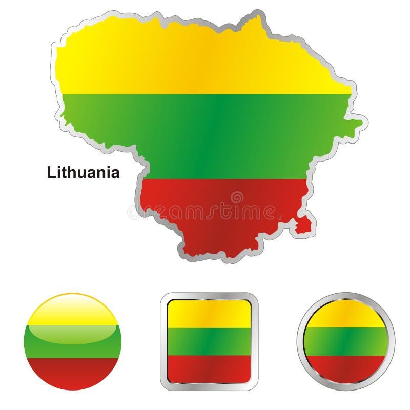redigerbar för flagga lithuania fullt vektor vektor illustrationer