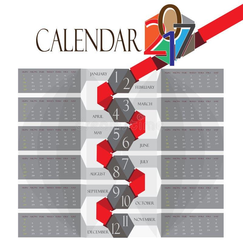 Redigerbar kalendervektor 2017 royaltyfri bild