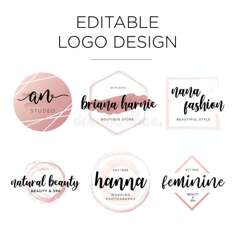 Redigerbar kvinnlig logodesignmall royaltyfri illustrationer