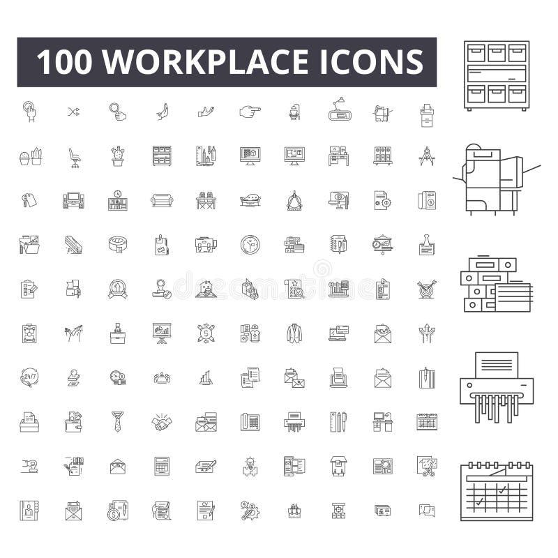 Redigerbar linje symboler, uppsättning för 100 vektor, samling för arbetsplats Illustrationer för arbetsplatssvartöversikt, tecke stock illustrationer