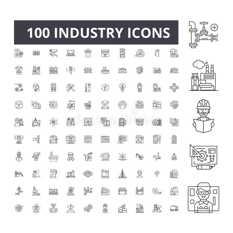 Redigerbar linje symboler, uppsättning för 100 vektor, samling för bransch Svarta översiktsillustrationer för bransch, tecken, sy royaltyfri illustrationer