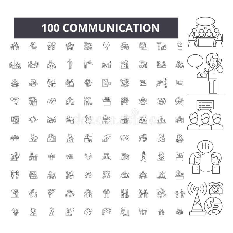 Redigerbar linje symboler, uppsättning för 100 vektor, samling för kommunikation Illustrationer för kommunikationssvartöversikt,  royaltyfri illustrationer