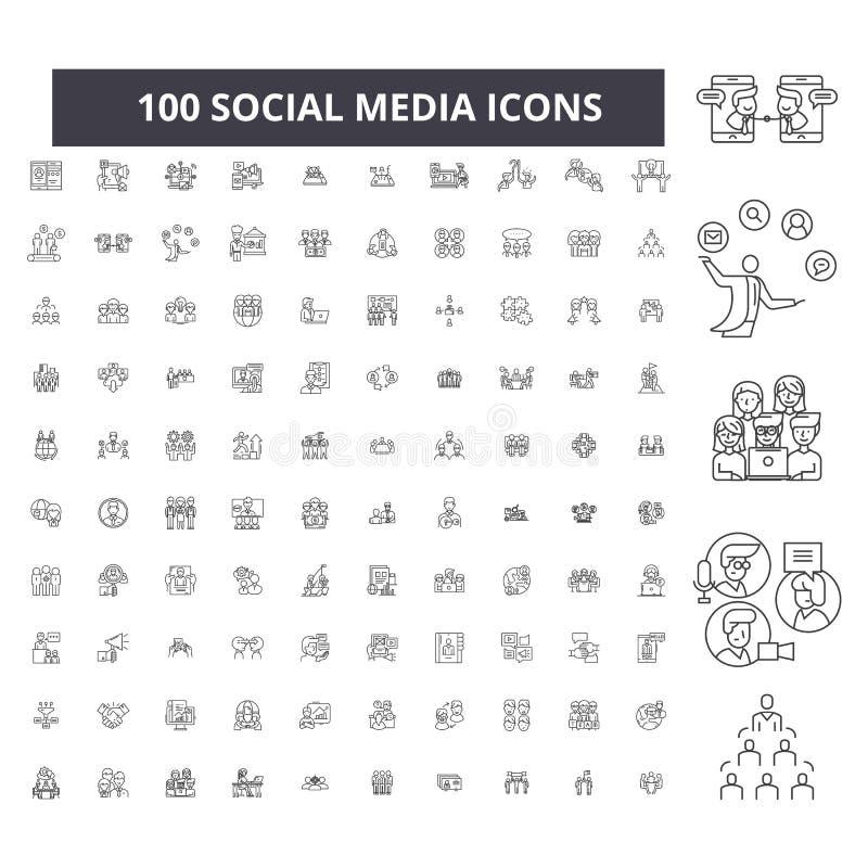 Redigerbar linje symboler, uppsättning för 100 vektor, samling för socialt massmedia Svarta översiktsillustrationer för socialt m royaltyfri illustrationer