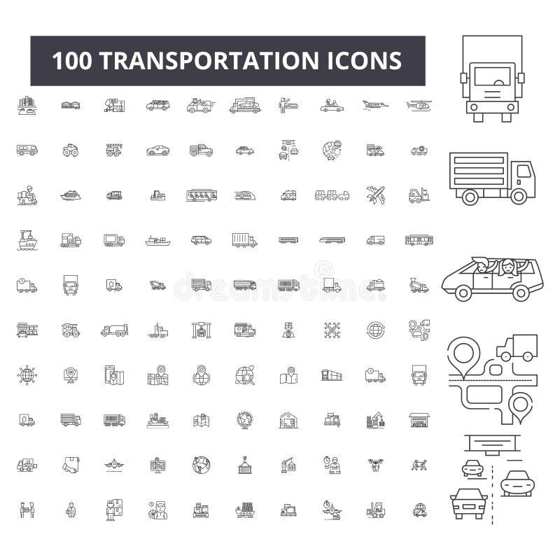 Redigerbar linje symboler, uppsättning för 100 vektor, samling för trans. Svarta översiktsillustrationer för trans., tecken vektor illustrationer