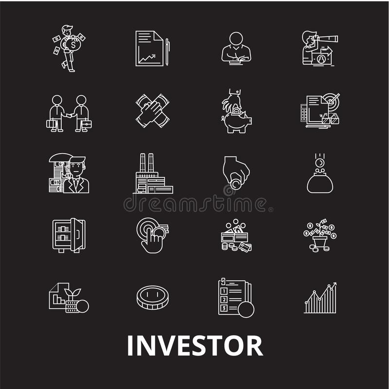 Redigerbar linje symbolsvektoruppsättning för aktieägare på svart bakgrund Vita översiktsillustrationer för aktieägare, tecken, s vektor illustrationer