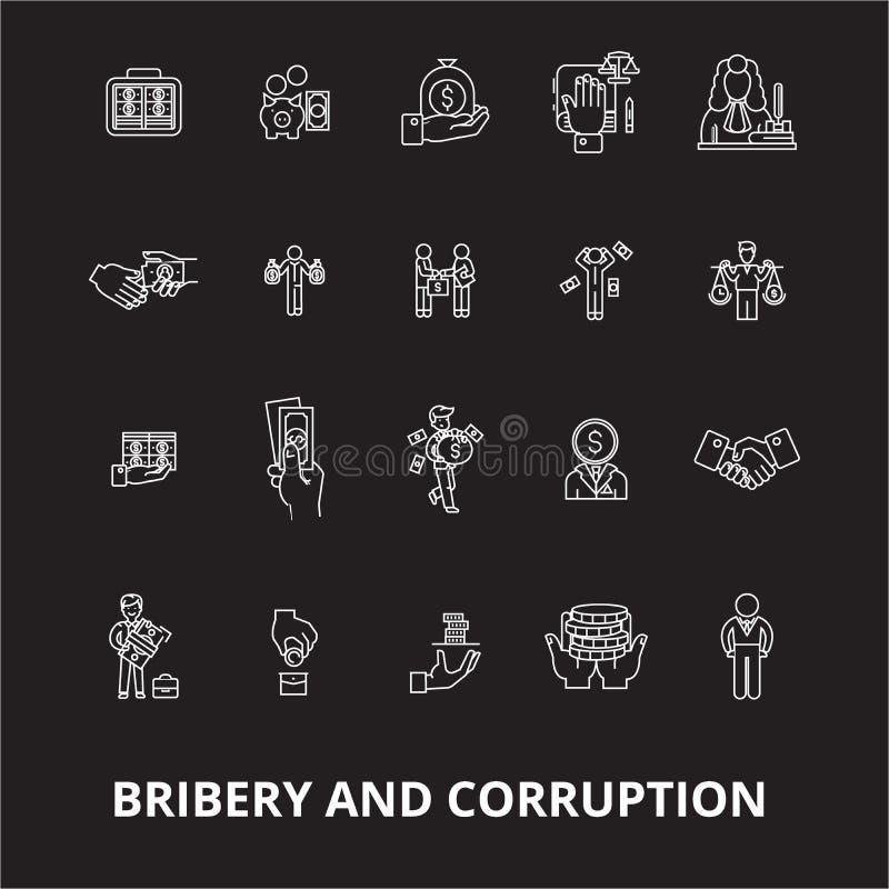 Redigerbar linje symbolsvektoruppsättning för bestickning och för korruption på svart bakgrund Vit översikt för bestickning och f royaltyfri illustrationer