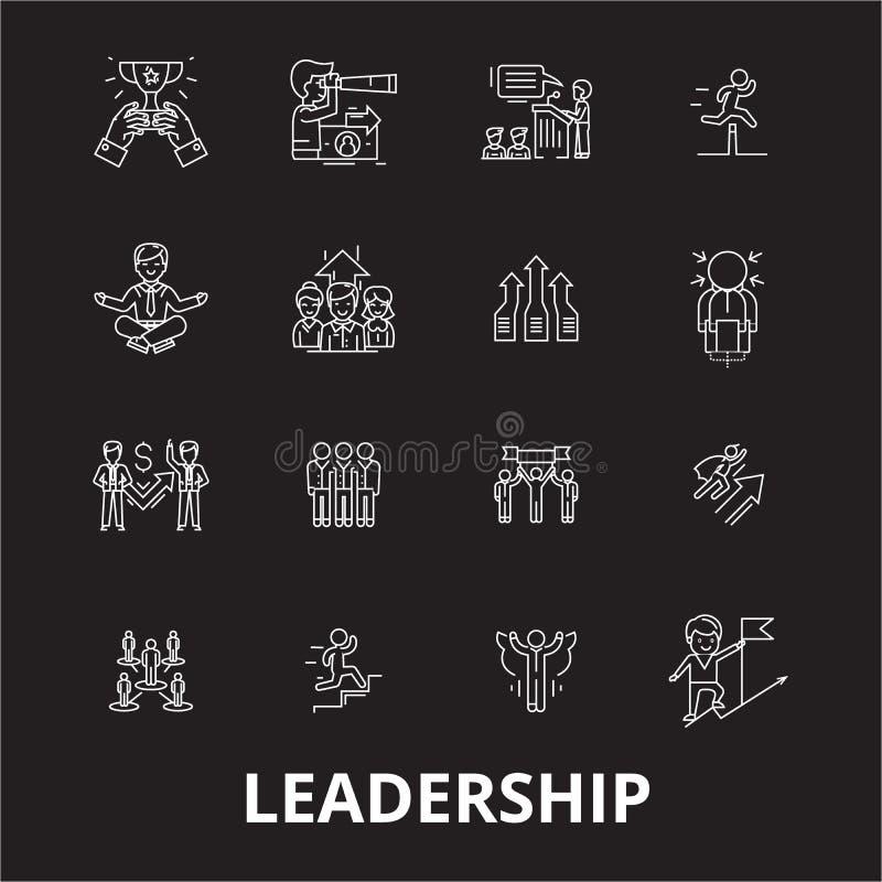 Redigerbar linje symbolsvektoruppsättning för ledarskap på svart bakgrund Vita översiktsillustrationer för ledarskap, tecken, sym vektor illustrationer
