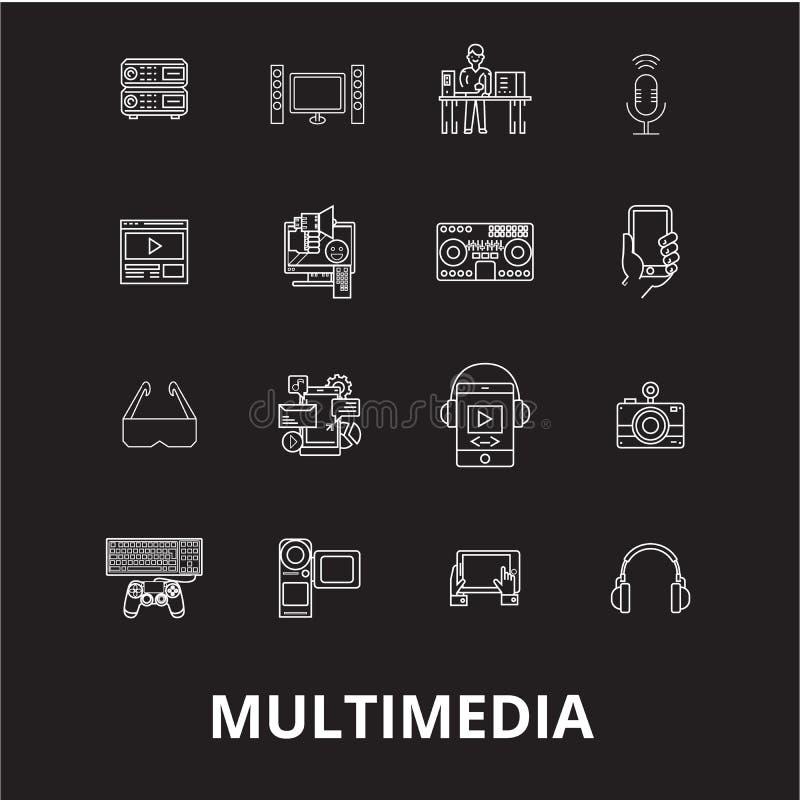 Redigerbar linje symbolsvektoruppsättning för multimedia på svart bakgrund Vita översiktsillustrationer för multimedia, tecken, s royaltyfri illustrationer