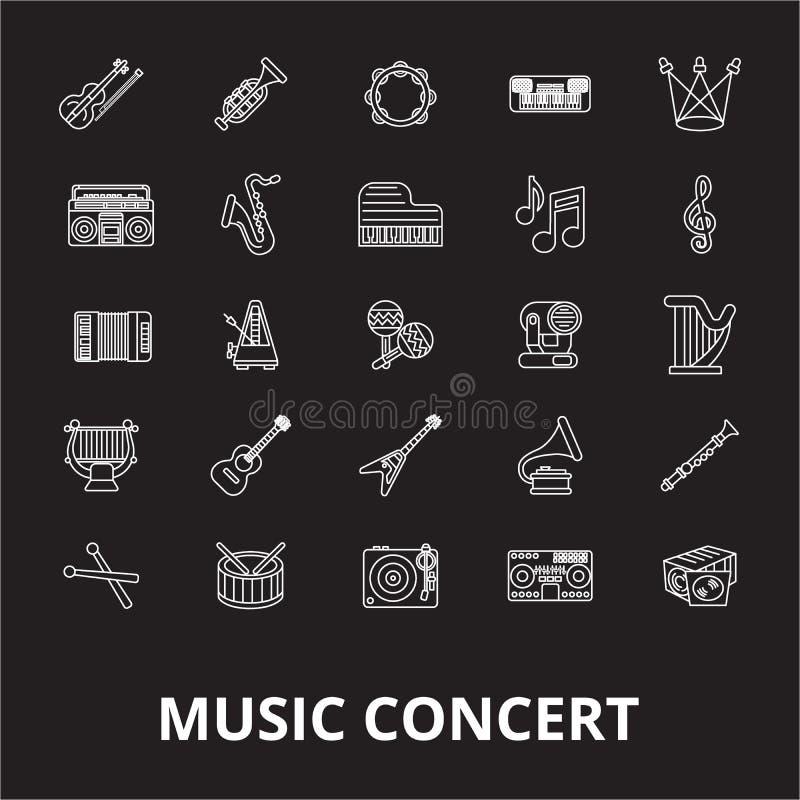 Redigerbar linje symbolsvektoruppsättning för musikkonsert på svart bakgrund Illustrationer för översikt för musikkonsert vita, t stock illustrationer