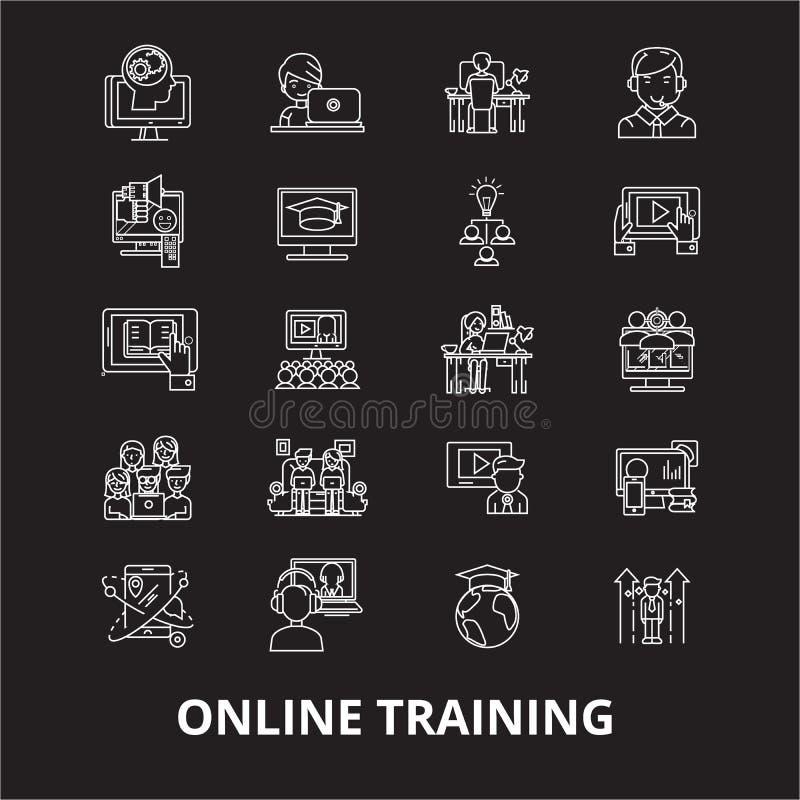 Redigerbar linje symbolsvektoruppsättning för online-utbildning på svart bakgrund Vita översiktsillustrationer för online-utbildn royaltyfri illustrationer