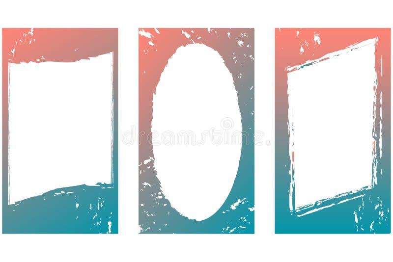 Redigerbar malluppsättning Vertikala ramar 16: förhållande 9 Färg - lutning från blått till korall royaltyfri illustrationer