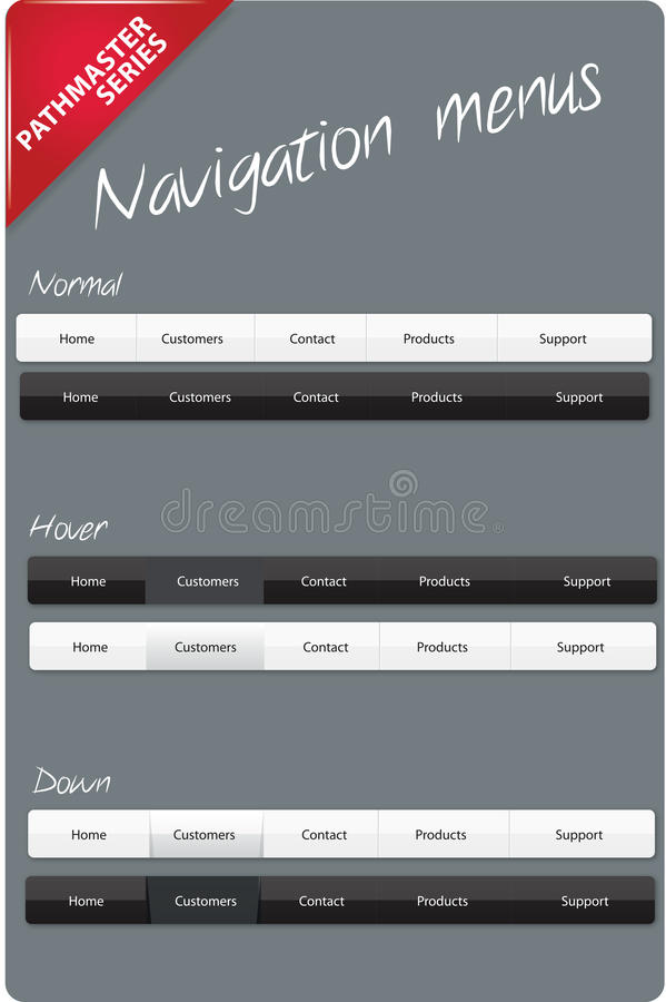redigerbar menynavigering vektor illustrationer