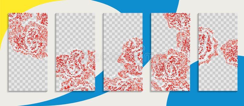 Redigerbar packe för instagramberättelsemall med rosa blommor sociala massmediaberättelsetapeter grunt bröllop för dof-inbjudanro royaltyfri illustrationer