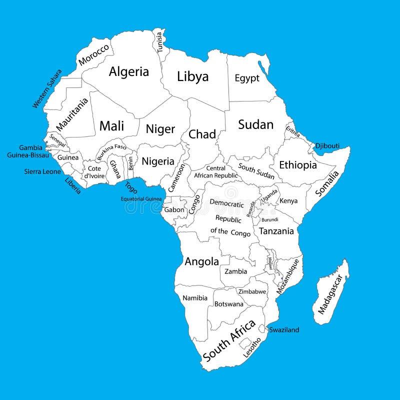 Redigerbar tom vektoröversikt av Afrika africa applicerar lätt redigerar vektorn för mappöversikten vektor illustrationer