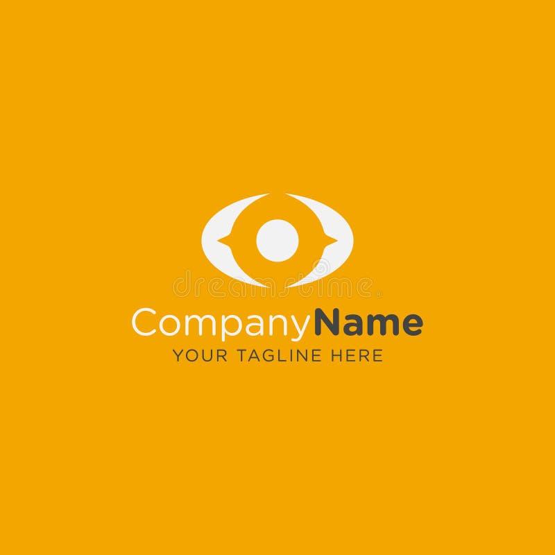 Redigerbar vektor för gul ögonlogo för optik- eller eyecareföretag eller annan affär vektor illustrationer