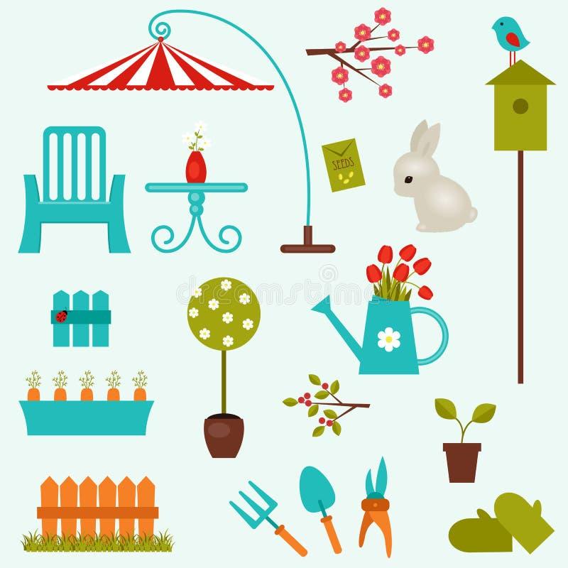 redigerbara fulla trädgårds- symboler för eps mer min portfölj royaltyfri illustrationer
