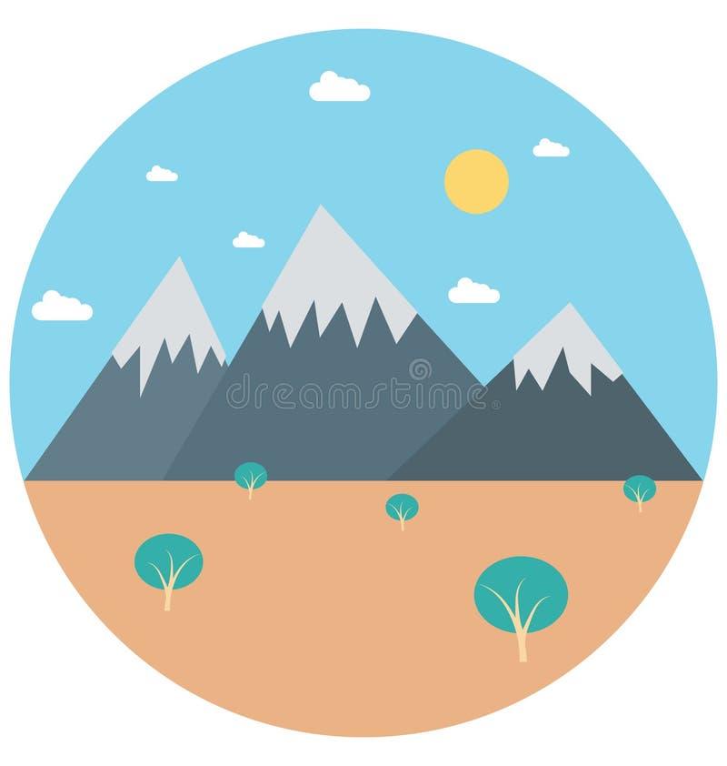 Redigerbart för symbol för bergillustrationfärg turnerar vektorn isolerat lätt och specialt bruk för fritid, lopp och stock illustrationer