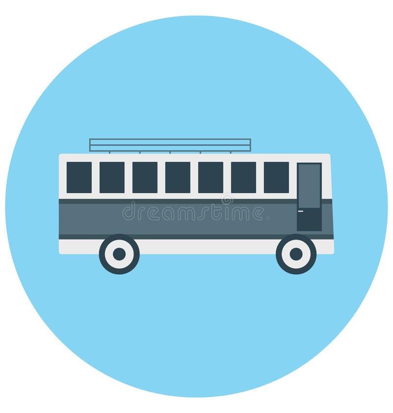 Redigerbart för symbol för bussillustrationfärg turnerar vektorn isolerat lätt och specialt bruk för fritid, lopp och stock illustrationer