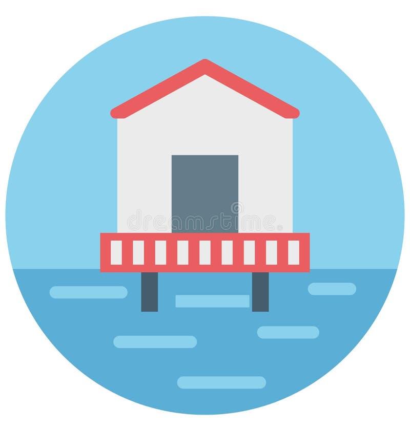 Redigerbart för symbol för färg för havshusillustration turnerar vektorn isolerat lätt och specialt bruk för fritid, lopp och royaltyfri illustrationer