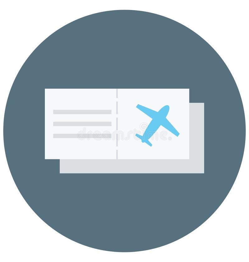 Redigerbart för symbol för flygbiljettillustrationfärg turnerar vektorn isolerat lätt och specialt bruk för fritid, lopp och stock illustrationer
