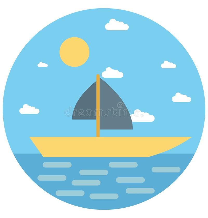 Redigerbart för symbol för segelbåtillustrationfärg turnerar vektorn isolerat lätt och specialt bruk för fritid, lopp och vektor illustrationer