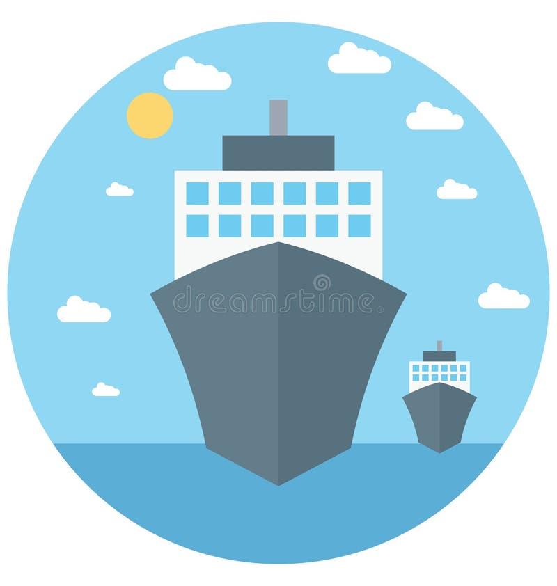 Redigerbart för symbol för skeppillustrationfärg turnerar vektorn isolerat lätt och specialt bruk för fritid, lopp och vektor illustrationer