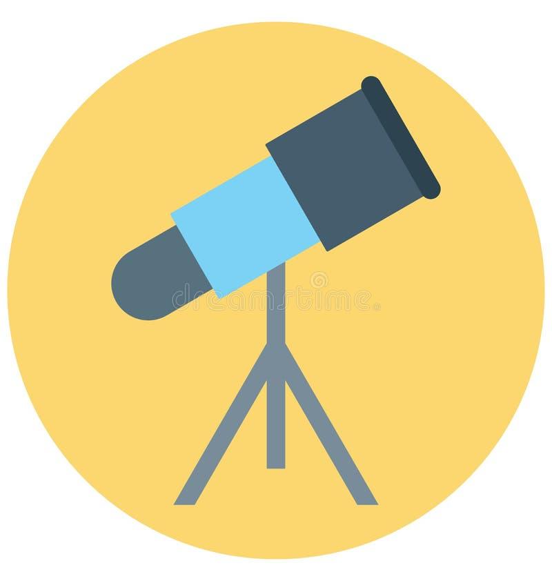 Redigerbart för symbol för teleskopillustrationfärg turnerar vektorn isolerat lätt och specialt bruk för fritid, lopp och stock illustrationer