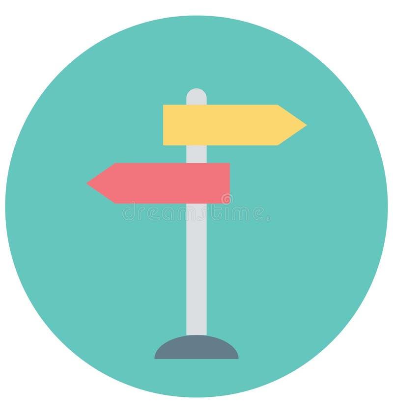 Redigerbart för symbol för vägvisareillustrationfärg turnerar vektorn isolerat lätt och specialt bruk för fritid, lopp och royaltyfri illustrationer