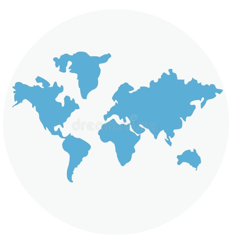 Redigerbart för symbol för världskartaillustrationfärg turnerar vektorn isolerat lätt och specialt bruk för fritid, lopp och vektor illustrationer