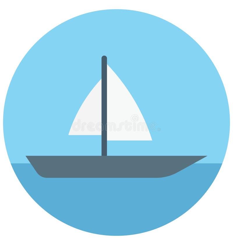 Redigerbart för symbol för yachtillustrationfärg turnerar vektorn isolerat lätt och specialt bruk för fritid, lopp och stock illustrationer