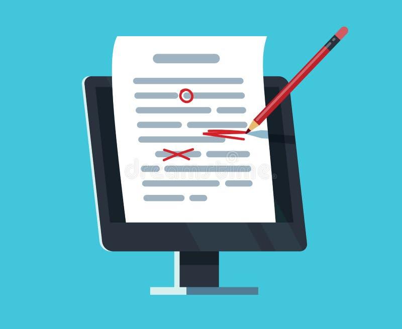 Redigerbart online-dokument Datordokumentation, essähandstil och redigera Begrepp för copywriter- och textredaktörvektor royaltyfri illustrationer