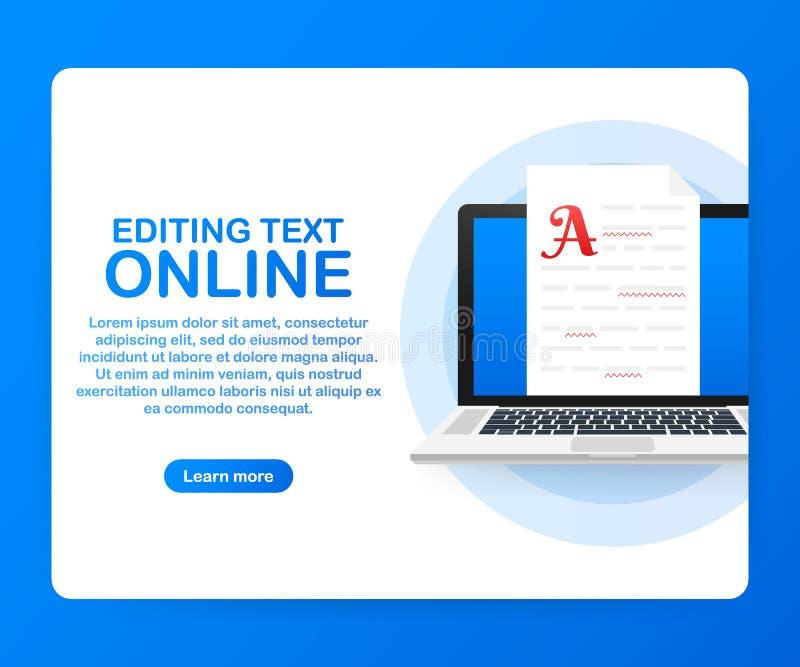 Redigerbart online-dokument Idérik handstil och historieberättande som copywriting Online-utbildning, avlägset lärande begrepp stock illustrationer