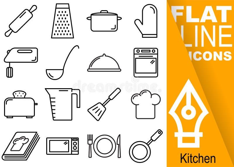 Redigerbart PIXEL för slaglängd 70x70 Enkel uppsättning av den plana linjen symboler för kökvektor sexton med det vertikala banre stock illustrationer