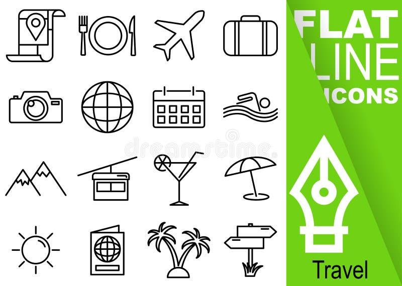 Redigerbart PIXEL för slaglängd 70x70 Enkel uppsättning av den plana linjen symboler för loppvektor sexton med lodlinjegräsplanba stock illustrationer