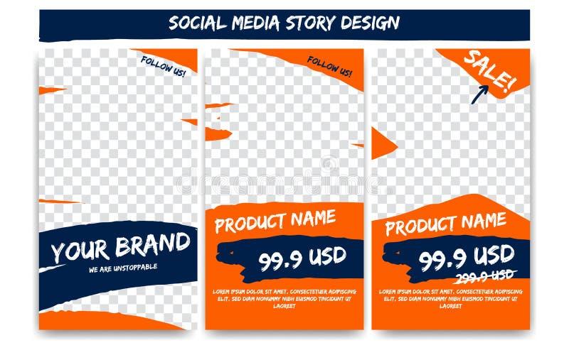 Redigerbart socialt affärsföretag för massmediaberättelsehandling i orange blå färg Produktförsäljningsbefordran som brännmärker  vektor illustrationer