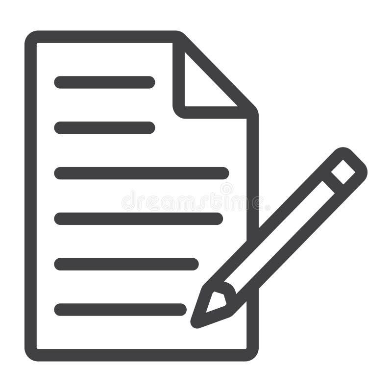 Redigieren Sie Dokumentenlinie Ikone, Netz und beweglich, redigieren Sie Datei lizenzfreie abbildung