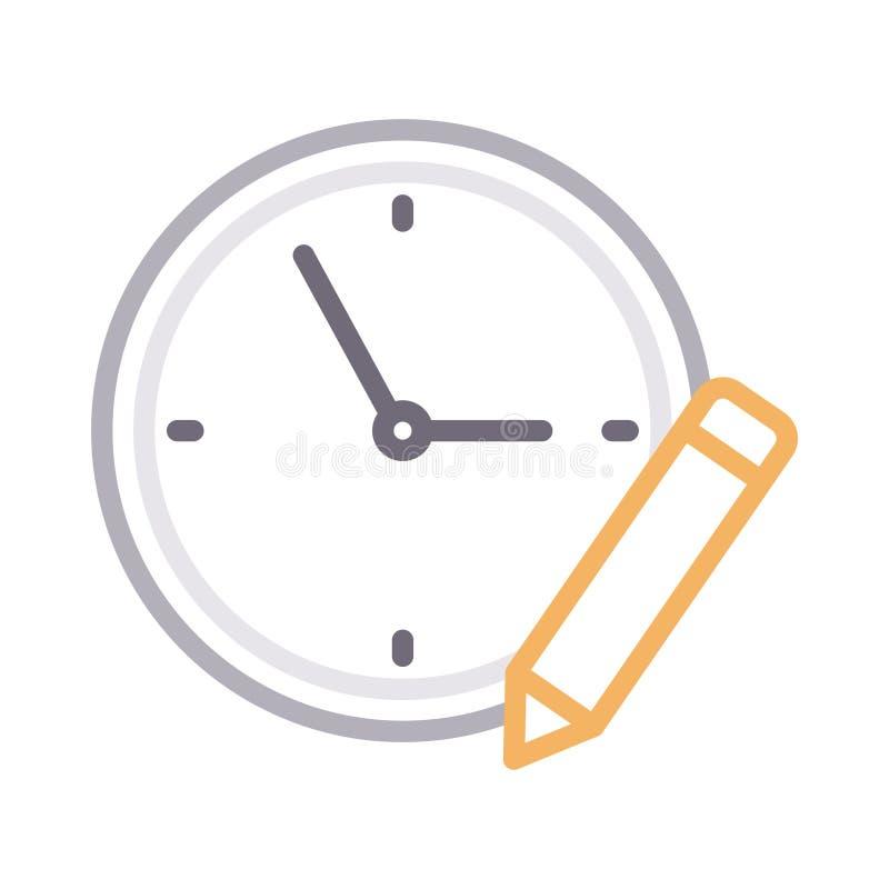 Redigieren Sie Farblinie-Vektorikone der Uhr dünne vektor abbildung