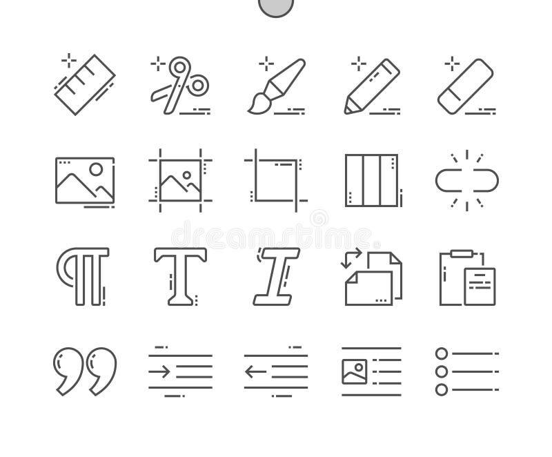 Redigieren Sie Text Gut-in Handarbeit gemachtes Pixel, das perfekter Vektor dünn Gitter 2x der Ikonen-30 für Netz Grafiken und Ap stock abbildung