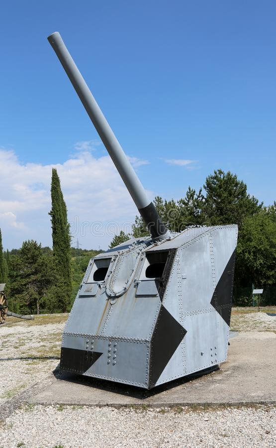 Free Redipuglia, GO, Italy - June 3, 2017: Old Armored Cannon Used Du Royalty Free Stock Photo - 146113155