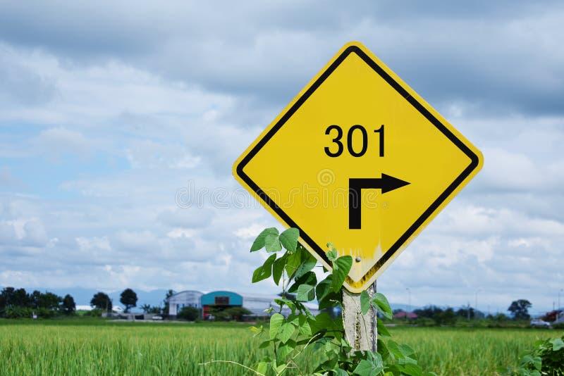 301 Redirect znaka ulicznego i rices pole w tle obraz royalty free