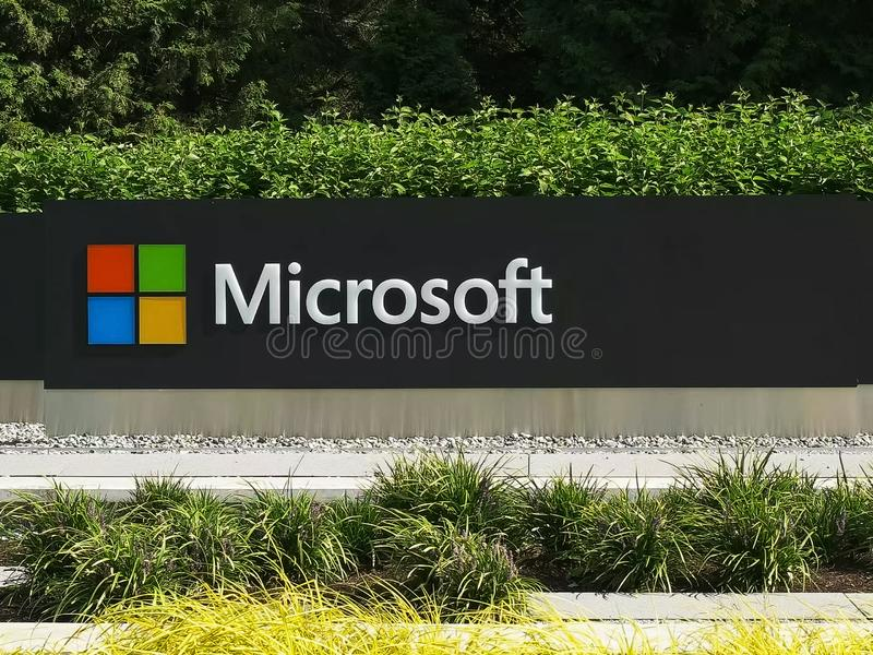 REDMOND, WASHINGTON, USA- SEPTEMBER 3, 2015: close up exterior view of the microsoft windows logo and name at seattle. REDMOND, WASHINGTON, USA- SEPTEMBER 3 royalty free stock photos