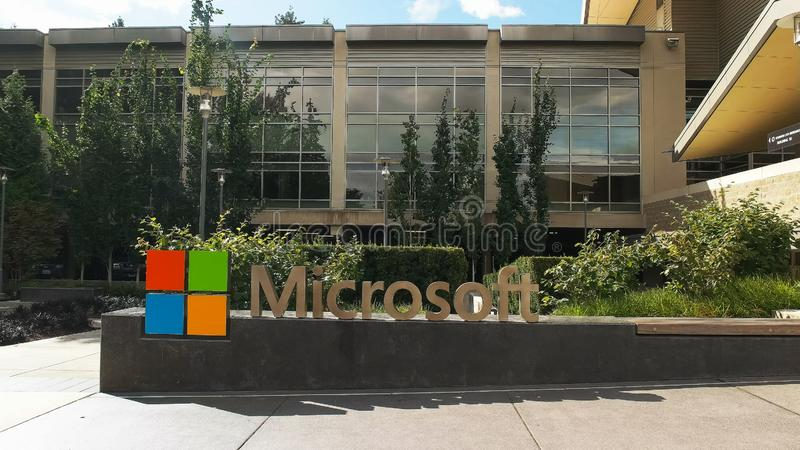 REDMOND, WASHINGTON, USA- SEPTEMBER 3, 2015: exterior view of microsoft redmond headquarters building. Microsoft is a multinational corporation specializing in royalty free stock photos