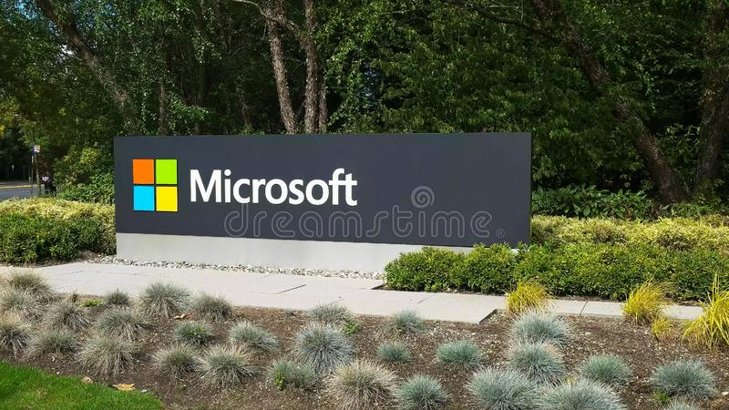 REDMOND, WASHINGTON, USA- SEPTEMBER 3, 2015: exterior view of microsoft sign on the street in redmond. REDMOND, WASHINGTON, USA- SEPTEMBER 3, 2015: exterior view royalty free stock images