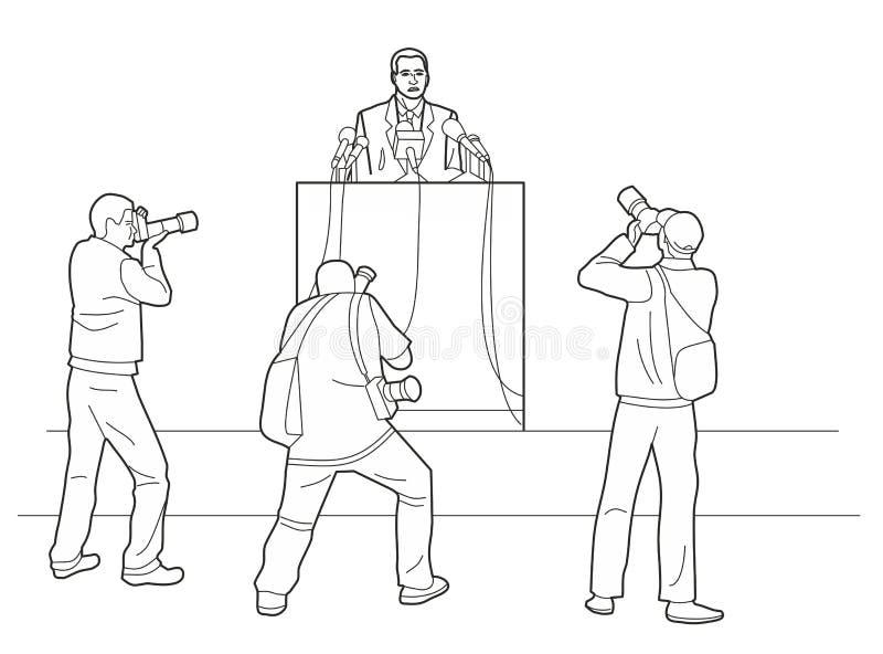 Redner steht hinter einem Podium mit Mikrophonen Sprecher macht der Öffentlichkeit einen Bericht Fotografen machen Fotos Schwarze vektor abbildung