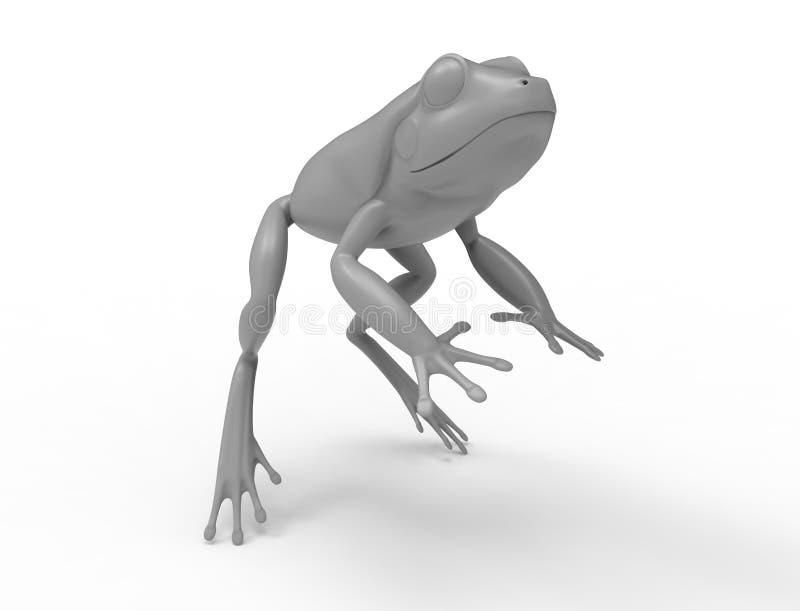 rednering 3d de uma rã de salto isolada no fundo branco do estúdio ilustração royalty free